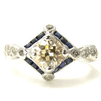 Large Art Deco Ring: Sapphires Fancy Colored Diamond Ring in White Gold Filigree - Appraised $6000