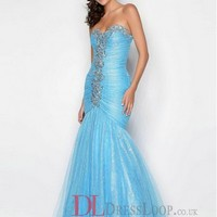 2014 New Styles Trumpet/Mermaid Sweetheart Tulle Blue Long Prom Dress/Evening Gowns With Beading VTC091