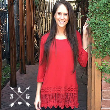 Lyla's Red Solid Raglan Shirt with Tassle Lace