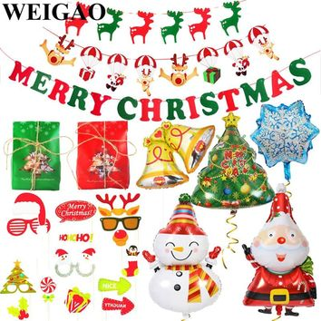 WEIGAO Navidad Christmas Garland Wall Hanging Banner Flags Kids Xmas Party Candy Box Christmas Decoration for Home Favors