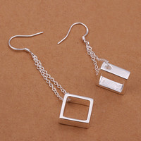 Hanging Square Silver Earring