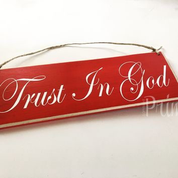12x4 Trust In God Wood Sign