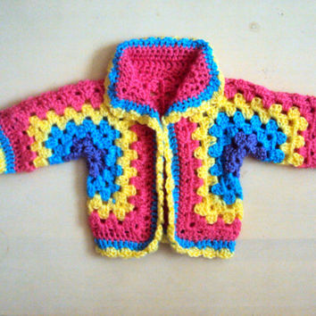 Baby Girls/Boys Rainbow Cardigan Afghan Jacket Granny Square Cardigan Toddler Hexagon Cardigan Crochet Jacket  Baby to Adult  Sizes