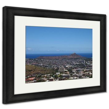 Framed Print, Diamondhead And The City Of Honolulu Of Oahu On A Clear Sky Day