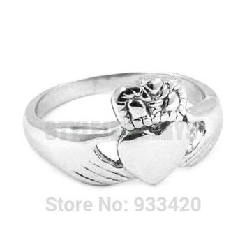 Free shipping Claddagh Style Hand to Hold a Heart with Crown Ring Stainless Steel  Celtic Knot Biker Women Ring
