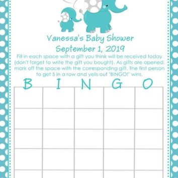 10 Blue Polka Dot Elephant Baby Shower Bingo Cards