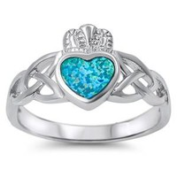 Sterling Silver Wicca Knot and Claddagh Heart Ring 11MM Blue Lab Opal