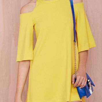 Yellow Plain Cut Out Draped Half Sleeve Off-shoulder Flare Sleeve Mini Dress