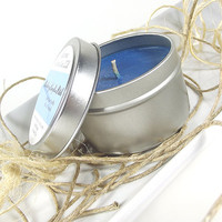 Soy Candle - Blueberry Pumpkin Patch scented Soy Candle Tin -- 6 ounce Tin