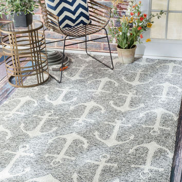 NuLOOM Hand Hooked Despina Indoor/ Outdoor Area Rug Rug Grey