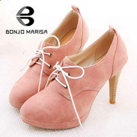 BONJOMARISA NEW ! Big Size 34-42 Sweety Lace Up Women High Heel Shoes High Heels & Beige,Pink,Black,Blue Platform Pumps HH278