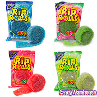 Sour Rip Rolls Candy Packs: 24-Piece Display