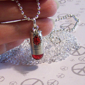 Red Crystal Bullet with Ladybug Necklace by mymysticgems on Etsy