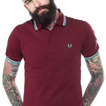 FRED PERRY SLIM FIT TWIN TIPPED POLO SHIRT PORT/TEAL/WHITE - Sourpuss Clothing