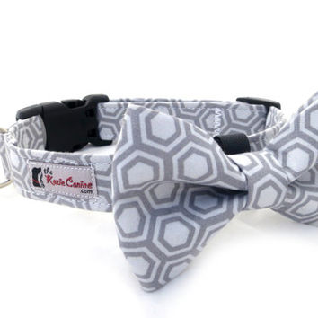Hexagon Patterned Gray Dog Collar (Grey Patterned Dog Collar Only - Matching Bow Tie Available Separately for Wedding & Special Occasion)