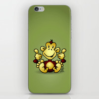 Manic Monkey with 4 thumbs up iPhone & iPod Skin by Cardvibes