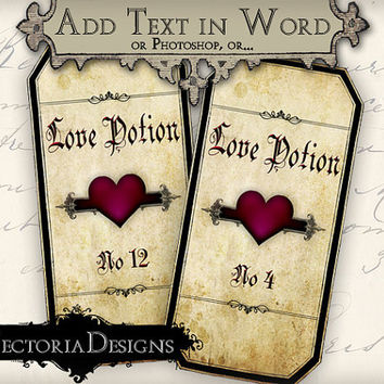 INSTANT DOWNLOAD Editable Blank Love Potions Apothecary Bottle Labels Valentine Jar Labels printable images digital collage sheet 323