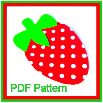 Strawberry PDF Pattern - Quilting - No Sew Iron On - Sewing - DIY - Template - Scrapbooking Design - Instant Download