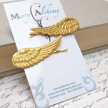 Angel Wing Hair Pins, Brass Wing Hair Pin Set, Greek Goddess Hair Pins, Bridal Hair Pins, Bridal Accessories, Hair Accessories