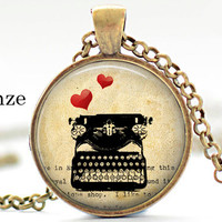 vintage type writer red hearts valentine necklace pendant,gifts for writers teachers friends,book lover,antique yellow paper,glass cabochon