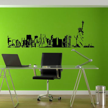 New York City Skyline Liberty Cool Office Style Wall decor Mural Decal vm003