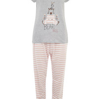 Pink Bird And Bear Print Long Pyjama Set