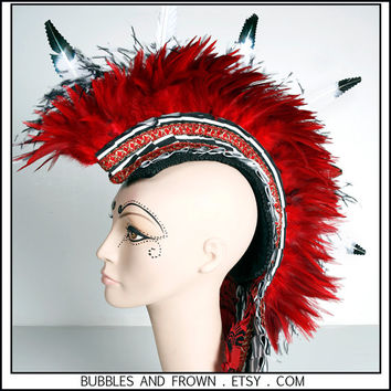 Court Jester... Feather Mohawk in Red, Black and White