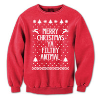 Merry CHRISTMAS Ya FILTHY Animal - funny hip movie xmas cool ugly sweater contest party humorous new - Womens Unisex Red Sweatshirt DB0002