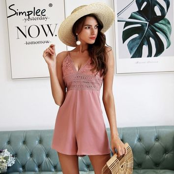 Simplee Sexy strap v neck chiffon rompers womens jumpsuit Boho floral beach playsuit Backless bow lace summer macacao feminino