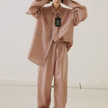 Pink Oversized Pinstripe Shirt With Tie