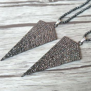 5 Strands Hematite beads necklace,Unique Metallic arrowhead Pendant pave Crystal Rhinestone necklaces NK207