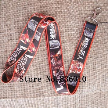 Cool Attack on Titan Hot Sale! 10 pcs  Japanese Anime   Key Chains Mobile Cell Phone Lanyard Neck Straps    Favors SZ-143 AT_90_11