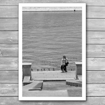 Enamoured Couple on Quay, Street Photography, Black-and-White Photography, Romantic Photography, Interior Art Prints