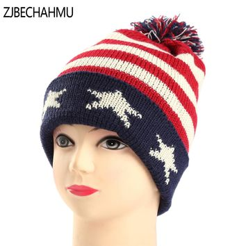 Fashion Girl 'S Skullies Beanies Winter Hats For Women Knitting Cap Hat Pompoms Ball Warm Brand Casual Gorros Thick Spint Caps