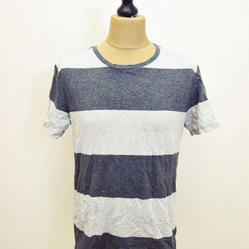 Retro On The Byas Thick Wide Ringer Stripy Striped T-Shirt M