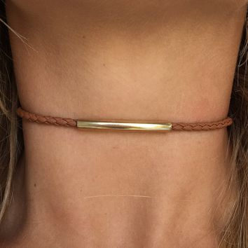 Golden Rope Choker in Tan