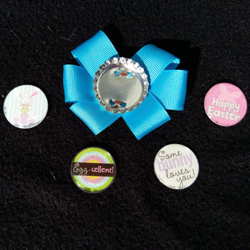 Easter Magnetic Bottle cap hair bow, bottle cap jewelry, Easter hairbow, personalized magnetic bottlecap hair bow, character hair bow