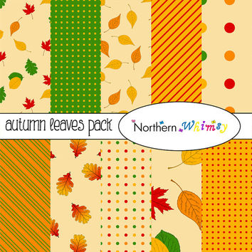 Autumn Leaves Digital Paper Pack – scrapbook paper with leaf patterns in fall colors – red, gold, orange, green– instant download – CU OK