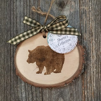 Bear Wood Ornament, Rustic Christmas Ornament, Woodland Ornament, Oak Wood Ornament, Bear Gift, Cabin Ornament, Natural Ornament