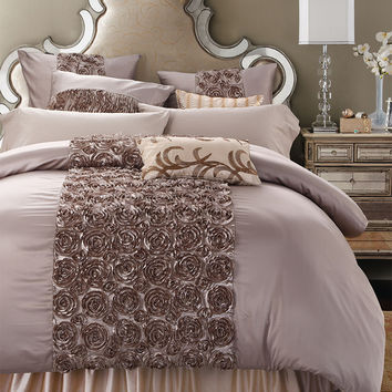 4/6-Pieces Handwork Rose Shaped Luxury Wedding Bedding Set King Size