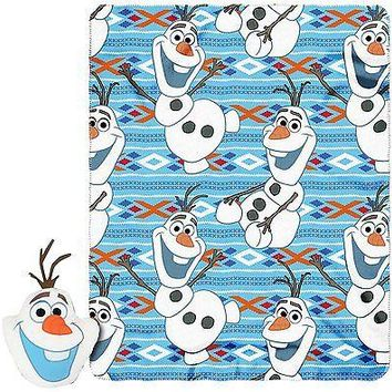 Disney Frozen Big Face Olaf Pillow and Fleece Throw Set