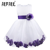 Kids Infant Girl Flower Petals Dress Children Bridesmaid Toddler Elegant Dress Pageant Vestido Infantil Tulle Formal Party Dress