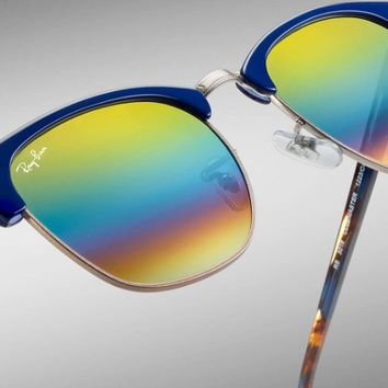 Ray Ban Clubmaster Mineral Flash Sunglasses RB3016 1223C4 Blue Gold Rainbow 51mm