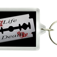 Suicide Razor Blade Keychain Life and Death Key Ring Hope