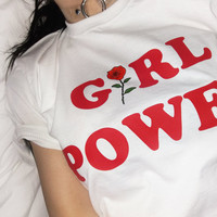 GIRL POWER red rose T-SHIRT Tumblr Inspired Softgrunge Daddy Pale Grunge seapunk harajuku sadidas