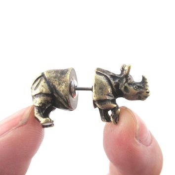 3D Rhinoceros Rhino Shaped Front and Back Stud Earrings in Brass