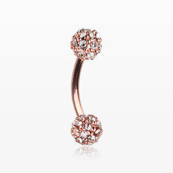 Rose Gold Pave Sparkle Full Dome Curved Barbell Ring