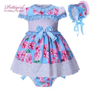 Pettigirl 3pcs Boutique Summer Toddler Girl Flower Dress + PP Pants + Pom Hat Baby Girls Lace Bowtie Clothing set G-DMCS001-1311