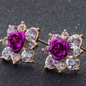 Rhinestone Rose Flower w/ Australian Crystal Stud Earrings