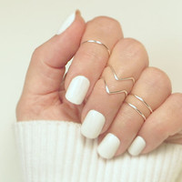 Knuckle Ring Set of 5, 2 Chevron 3 Band Adjustable Midi Stacking Dainty Gold or Silver Tone